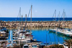 Yachts  in the marina, Herzliya, Israel. Luxury yachts moored in the marina on a bright sunny spring day Stock Photo