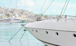 Yachts in the marina. Luxury boats in the marina Royalty Free Stock Photo