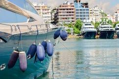 Yachts in the marina. Luxury boats in the marina Royalty Free Stock Image