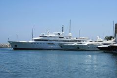Yachts in the Marina of Marbella, Andalusia, Spain Royalty Free Stock Images