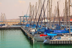 Yachts and marina on Mediterranean sea. Stock Images