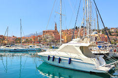 Yachts on marina of Menton, France. Royalty Free Stock Images