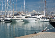 Yachts in the marina Stock Images