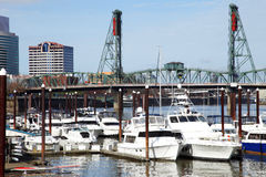 Yachts in a marina, Portland Oregon. Stock Image