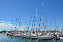 Yachts in the marina at Puerto de Mogan, Gran Canaria, Spain Royalty Free Stock Photography
