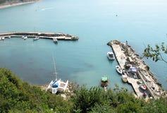 Yachts in marina on the sea shore Royalty Free Stock Photo
