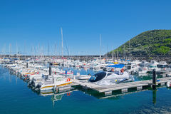 Yachts in marina, Terceira, Azores Royalty Free Stock Images