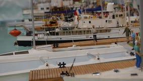 Yachts at a marina - Yacht Club - Hobby model stock video footage