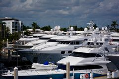 Yachts in marina in South Florida. Yachts moored at marina in South Florida on sunny day royalty free stock photography