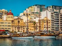 Yachts in Marsamxett Harbour near Valletta. Yachts on parking in Marsamxett Harbour near Valletta in Malta Stock Image