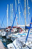 Yachts masts in marina Royalty Free Stock Images