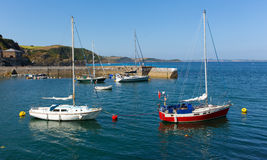 Yachts in Mevagissey harbour Cornwall England Royalty Free Stock Photo