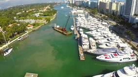 Yachts in Miami aerial video footage Royalty Free Stock Photos