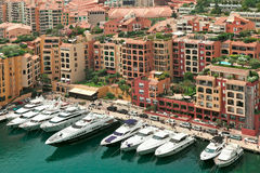 Yachts and modern buildings in Monte Carlo, Monaco. Stock Photo