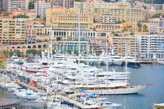 Yachts in Monaco harbor Stock Photos