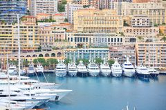Yachts in Monaco harbor Stock Photo