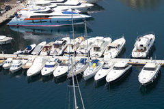 Yachts in Monaco harbor Royalty Free Stock Photo