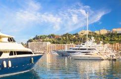 Yachts in Monaco harbor Stock Photos