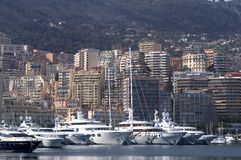 Yachts in Monaco Harbour Royalty Free Stock Images