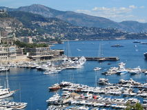 Yachts in Monaco. View of port with yachts in Monaco stock image