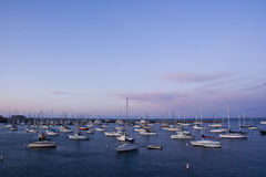 Yachts on monterey bay. At sunset from the fisherman's wharf Royalty Free Stock Image