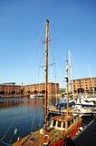 Yachts Moored in Albert Dock, Liverpool. Royalty Free Stock Images
