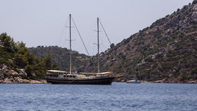 Yacht in the Bay of Bozburun Royalty Free Stock Photos