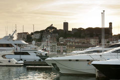 Yachts moored in Cannes Stock Photos