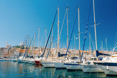 Yachts Are Moored At City Pier, Jetty, Port In Marseille, France Stock Images