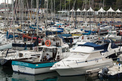 Yachts moored in Funchal seaport, Madeira island,. Portugal Stock Photo