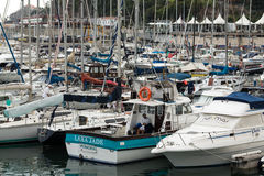 Yachts moored in Funchal seaport, Madeira island. Portugal Royalty Free Stock Photography