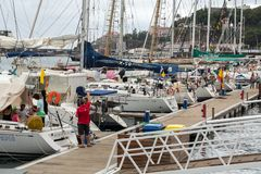 Yachts moored in Funchal seaport, Madeira island,. Portugal Royalty Free Stock Images