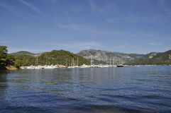 Yachts moored in Gocek marina Royalty Free Stock Image