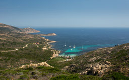 Yachts moored at Gulf of Revellata near Calvi in Corsica Royalty Free Stock Photography