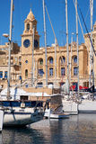 The yachts moored in the harbor in front of Malta Maritime Museu Royalty Free Stock Photos