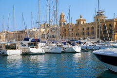 The yachts moored in the harbor in front of Malta Maritime Museu Royalty Free Stock Photography