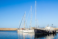 Yachts moored in a harbor Royalty Free Stock Image