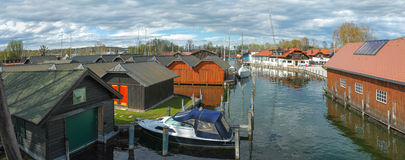 Yachts moored in harbour panorama Royalty Free Stock Images
