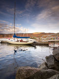YACHTS MOORED ON LAKE. Yachts moored on the Tremblant lake in Quebec royalty free stock image