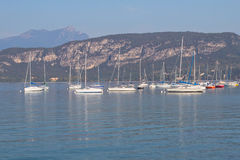 Yachts moored on Lake Garda Stock Photography