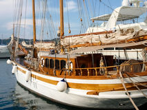 Yachts moored in the Ligurian port. Oneglia, Italy - June 9, 2015: Yachts moored in the Ligurian port Royalty Free Stock Photos