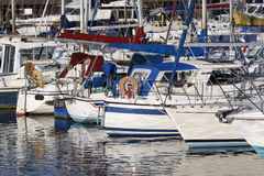 Yachts moored in a marina. Water reflections stock image