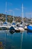 Yachts moored at marina. At beautiful sunny day Royalty Free Stock Photography