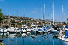 Yachts moored at marina. At beautiful sunny day Stock Image