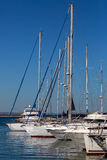 Yachts moored  in a marina. Royalty Free Stock Image