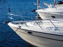 Yachts moored at marina Stock Photography