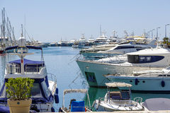 Yachts moored in the marina in Cannes Stock Photos