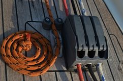 Yachting`s rigging. Lines and stoper. stock image
