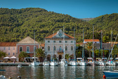 Yachts moored in marina on Hvar island, Croatia Royalty Free Stock Photo