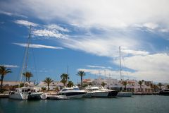 Yachts moored in a marina in a mediterranean island in Spain royalty free stock photos